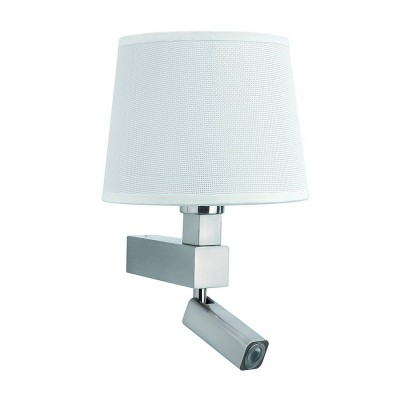 Настенный светильник бра Mantra 5234+5237 BAHIAХай-тек<br><br><br>Тип лампы: Накаливания / энергосбережения / светодиодная<br>Тип цоколя: E27/LED<br>Цвет арматуры: серебристый никель<br>Количество ламп: 1/1<br>Ширина, мм: 215<br>Длина, мм: 200<br>Высота, мм: 334<br>MAX мощность ламп, Вт: 60