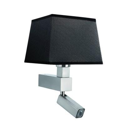 Настенный светильник бра Mantra 5234+5240 BAHIAСовременные<br><br><br>Тип лампы: Накаливания / энергосбережения / светодиодная<br>Тип цоколя: E27/LED<br>Цвет арматуры: серебристый никель<br>Количество ламп: 2<br>Ширина, мм: 215<br>Расстояние от стены, мм: 200<br>Высота, мм: 334<br>MAX мощность ламп, Вт: 40/3