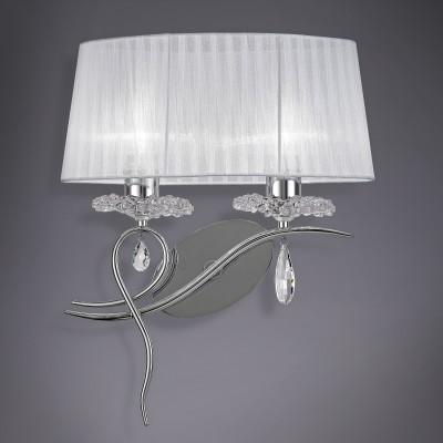 Настенный светильник бра Mantra 5276 LOUISEхрустальные бра<br><br><br>Тип лампы: Накаливания / энергосбережения / светодиодная<br>Тип цоколя: E27<br>Цвет арматуры: серебристый хром / белый<br>Количество ламп: 2<br>Ширина, мм: 400<br>Расстояние от стены, мм: 216<br>Высота, мм: 495