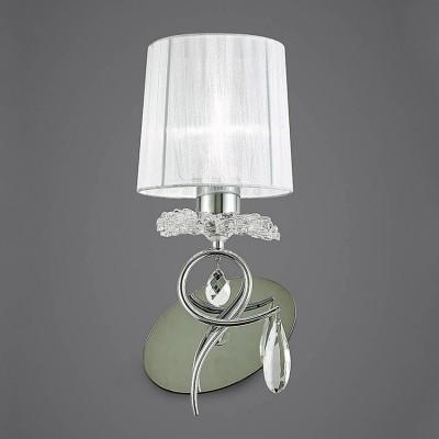 Настенный светильник бра Mantra 5277 LOUISEсовременные бра модерн<br><br><br>Тип лампы: Накаливания / энергосбережения / светодиодная<br>Тип цоколя: E27<br>Цвет арматуры: серебристый хром / белый<br>Количество ламп: 1<br>Ширина, мм: 160<br>Расстояние от стены, мм: 189<br>Высота, мм: 374<br>MAX мощность ламп, Вт: 13