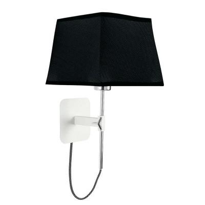 Настенный светильник бра Mantra 5318+5240 HABANAсовременные бра модерн<br><br><br>Тип лампы: Накаливания / энергосбережения / светодиодная<br>Тип цоколя: E27<br>Цвет арматуры: белый<br>Ширина, мм: 200<br>Расстояние от стены, мм: 214<br>Высота, мм: 290 - 453<br>MAX мощность ламп, Вт: 13