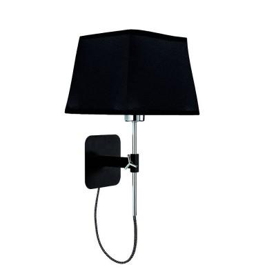 Настенный светильник бра Mantra 5319+5240 HABANAсовременные бра модерн<br><br><br>Тип лампы: Накаливания / энергосбережения / светодиодная<br>Тип цоколя: E27<br>Цвет арматуры: черный / серебристый хром<br>Количество ламп: 1<br>Ширина, мм: 200<br>Расстояние от стены, мм: 214<br>Высота, мм: 290<br>MAX мощность ламп, Вт: 60