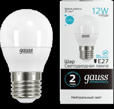 Лампа Gauss LED Elementary Шар 12W 920lm E27 4100K (53222) 53222_GAUSS