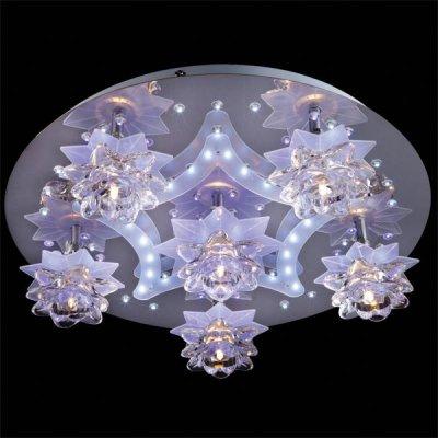 Люстра Евросвет 5352/6 хромГалогенные<br><br><br>Установка на натяжной потолок: Ограничено<br>S освещ. до, м2: 8<br>Крепление: Планка<br>Тип товара: светильник потолочный<br>Тип лампы: галогенная / LED-светодиодная<br>Тип цоколя: G4<br>Количество ламп: 6<br>MAX мощность ламп, Вт: 20<br>Диаметр, мм мм: 500<br>Высота, мм: 150<br>Цвет арматуры: серебристый