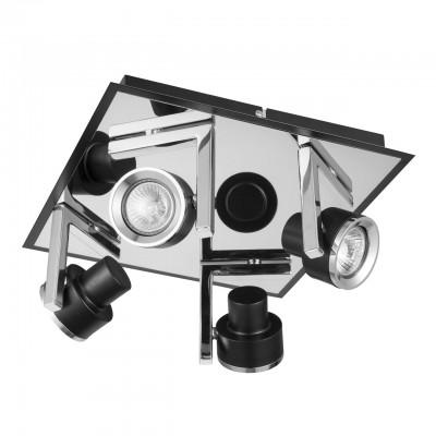 Светильник Mw-light 541020704С 4 лампами<br><br><br>Тип лампы: галогенная/LED<br>Тип цоколя: GU10<br>Цвет арматуры: черный<br>Количество ламп: 4<br>Ширина, мм: 300<br>Длина, мм: 300<br>Высота, мм: 140