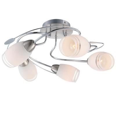 Люстра Globo 54283-5современные потолочные люстры модерн<br>Компания «Светодом» предлагает широкий ассортимент люстр от известных производителей. Представленные в нашем каталоге товары выполнены из современных материалов и обладают отличным качеством. Благодаря широкому ассортименту Вы сможете найти у нас люстру под любой интерьер. Мы предлагаем как классические варианты, так и современные модели, отличающиеся лаконичностью и простотой форм. <br>Стильная люстра Globo 54283-5 станет украшением любого дома. Эта модель от известного производителя не оставит равнодушным ценителей красивых и оригинальных предметов интерьера. Люстра Globo 54283-5 обеспечит равномерное распределение света по всей комнате. При выборе обратите внимание на характеристики, позволяющие приобрести наиболее подходящую модель. <br>Купить понравившуюся люстру по доступной цене Вы можете в интернет-магазине «Светодом».<br><br>Установка на натяжной потолок: Да<br>S освещ. до, м2: 10<br>Крепление: Планка<br>Тип лампы: Накаливания / энергосбережения / светодиодная<br>Тип цоколя: E14<br>Цвет арматуры: серебристый<br>Количество ламп: 5<br>Диаметр, мм мм: 440<br>Высота, мм: 200<br>MAX мощность ламп, Вт: 40