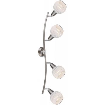 Светильник Globo 54341-4 ElliottС 4 лампами<br>Светильники-споты – это оригинальные изделия с современным дизайном. Они позволяют не ограничивать свою фантазию при выборе освещения для интерьера. Такие модели обеспечивают достаточно качественный свет. Благодаря компактным размерам Вы можете использовать несколько спотов для одного помещения.  Интернет-магазин «Светодом» предлагает необычный светильник-спот Globo 54341-4 по привлекательной цене. Эта модель станет отличным дополнением к люстре, выполненной в том же стиле. Перед оформлением заказа изучите характеристики изделия.  Купить светильник-спот Globo 54341-4 в нашем онлайн-магазине Вы можете либо с помощью формы на сайте, либо по указанным выше телефонам. Обратите внимание, что у нас склады не только в Москве и Екатеринбурге, но и других городах России.<br><br>S освещ. до, м2: 10<br>Тип лампы: накал-я - энергосбер-я<br>Тип цоколя: E14<br>Цвет арматуры: серебристый<br>Количество ламп: 4<br>Ширина, мм: 315<br>Длина, мм: 700<br>Высота, мм: 211<br>MAX мощность ламп, Вт: 4