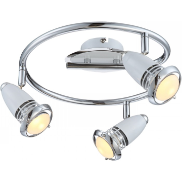Светильник Globo 54381-3 BiankaТройные<br>Светильники-споты – это оригинальные изделия с современным дизайном. Они позволяют не ограничивать свою фантазию при выборе освещения для интерьера. Такие модели обеспечивают достаточно качественный свет. Благодаря компактным размерам Вы можете использовать несколько спотов для одного помещения.  Интернет-магазин «Светодом» предлагает необычный светильник-спот Globo 54381-3 по привлекательной цене. Эта модель станет отличным дополнением к люстре, выполненной в том же стиле. Перед оформлением заказа изучите характеристики изделия.  Купить светильник-спот Globo 54381-3 в нашем онлайн-магазине Вы можете либо с помощью формы на сайте, либо по указанным выше телефонам. Обратите внимание, что у нас склады не только в Москве и Екатеринбурге, но и других городах России.<br><br>Тип лампы: галогенная / LED-светодиодная<br>Тип цоколя: E14 R50LED<br>Количество ламп: 3<br>Ширина, мм: 300<br>MAX мощность ламп, Вт: 4<br>Длина, мм: 300<br>Высота, мм: 170<br>Цвет арматуры: серебристый