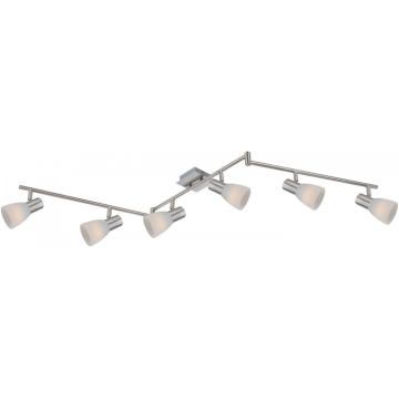 Светильник Globo 54534-6 Parry IБолее 5 ламп<br><br><br>S освещ. до, м2: 16<br>Тип товара: Светильник поворотный спот<br>Скидка, %: 21<br>Тип лампы: накал-я - энергосбер-я<br>Тип цоколя: E14 LED<br>Количество ламп: 6<br>Ширина, мм: 100<br>MAX мощность ламп, Вт: 4<br>Длина, мм: 145<br>Высота, мм: 165<br>Цвет арматуры: серебристый