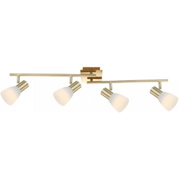 Светильник Globo 54538-4 Raider IС 4 лампами<br>Светильники-споты – это оригинальные изделия с современным дизайном. Они позволяют не ограничивать свою фантазию при выборе освещения для интерьера. Такие модели обеспечивают достаточно качественный свет. Благодаря компактным размерам Вы можете использовать несколько спотов для одного помещения.  Интернет-магазин «Светодом» предлагает необычный светильник-спот Globo 54538-4 по привлекательной цене. Эта модель станет отличным дополнением к люстре, выполненной в том же стиле. Перед оформлением заказа изучите характеристики изделия.  Купить светильник-спот Globo 54538-4 в нашем онлайн-магазине Вы можете либо с помощью формы на сайте, либо по указанным выше телефонам. Обратите внимание, что у нас склады не только в Москве и Екатеринбурге, но и других городах России.<br><br>S освещ. до, м2: 1<br>Тип лампы: накал-я - энергосбер-я<br>Тип цоколя: E14 LED<br>Количество ламп: 4<br>Ширина, мм: 100<br>MAX мощность ламп, Вт: 4<br>Длина, мм: 800<br>Высота, мм: 140<br>Цвет арматуры: золотой