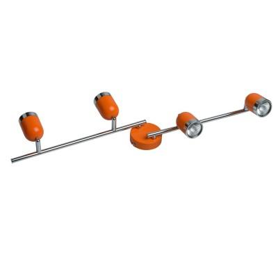 Светильник поворотный спот Mw light 546021204 ОрионС 4 лампами<br>Описание модели 546021204: Современные, выполненные в стиле минимализм светильники-споты из коллекции «Орион» подойдут для точечного освещения пространства. Основание сделано из металла в двух цветовых вариантах – спокойный классический белый, и яркий бодрящий оранжевый. Споты «Орион» подойдут для организации зонального освещения на кухне, в ванной, прихожей или детской комнатах, для создания особой, уютной атмосферы. Рекомендуемая площадь освещения – до 9 кв.м.<br><br>S освещ. до, м2: 9<br>Цветовая t, К: 3000<br>Тип лампы: галогенная/LED<br>Цвет арматуры: красный<br>Количество ламп: 5<br>Ширина, мм: 160<br>Длина, мм: 820<br>Высота, мм: 160<br>Поверхность арматуры: матовый, глянцевый<br>MAX мощность ламп, Вт: 35<br>Общая мощность, Вт: 150