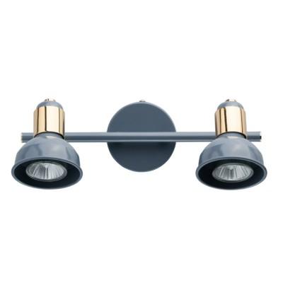 Светильник Mw light 552020202двойные светильники споты<br>Основание и плафон выполнены из металла по технологии токарной обработки и окрашены в голубой цвет. Держатель плафона и декор: металл, гальванизация в цвет золота.<br><br>S освещ. до, м2: 7<br>Тип лампы: Галогенные, светодиодные<br>Тип цоколя: GU10 (50W)<br>Цвет арматуры: голубая<br>Количество ламп: 2<br>Ширина, мм: 300<br>Длина, мм: 160<br>Высота, мм: 160<br>Поверхность арматуры: глянцевая<br>Оттенок (цвет): голубой<br>MAX мощность ламп, Вт: 50