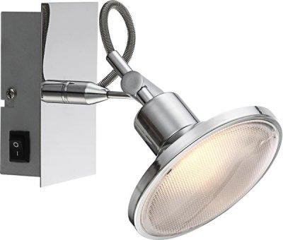 Светильник Globo 56953-1 AaronОдиночные<br><br><br>Тип товара: Светильник поворотный спот<br>Скидка, %: 59<br>Тип лампы: LED - светодиодная<br>Тип цоколя: LED<br>Количество ламп: 1<br>Ширина, мм: 140<br>MAX мощность ламп, Вт: 5<br>Длина, мм: 120<br>Цвет арматуры: серебристый