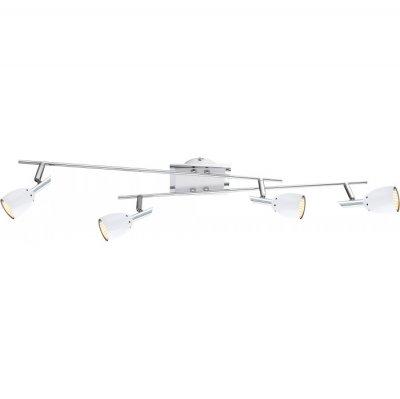 Светильник Globo 57603-4 NoruС 4 лампами<br><br><br>Тип товара: Светильник поворотный спот<br>Скидка, %: 56<br>Тип лампы: галогенная / LED-светодиодная<br>Тип цоколя: GU10<br>Количество ламп: 4<br>Ширина, мм: 140<br>MAX мощность ламп, Вт: 3,5<br>Длина, мм: 800<br>Высота, мм: 130<br>Цвет арматуры: серебристый