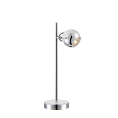 Настольная лампа Globo 57883-1TOСовременные<br>Настольная лампа – это не просто источник дополнительного освещения, но и оригинальный элемент декора. Его можно установить в спальне, гостиной, кабинете и других комнатах. Интернет-магазин «Светодом» предлагает настольные лампы разных стилей по доступным ценам. Благодаря большому ассортименту Вы обязательно найдете в нашем каталоге именно ту модель, которую искали. <br> Настольная лампа Globo 57883-1TO – прекрасный вариант для завершения интерьера. Ее можно включить одновременно с люстрой для более яркого освещения или без нее для создания уютной атмосферы, настраивающей на отдых. <br> Купить настольную лампу Globo 57883-1TO Вы можете с помощью виртуальной «Корзины» или по контактным номерам, указанным на сайте.<br><br>Тип лампы: галогенная/LED<br>Тип цоколя: GU10<br>Количество ламп: 1<br>Ширина, мм: 185<br>MAX мощность ламп, Вт: 5<br>Длина, мм: 130<br>Высота, мм: 430<br>Цвет арматуры: серебристый