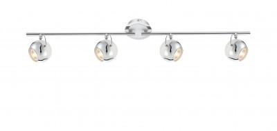 Светильник Globo 57883-4OС 4 лампами<br><br><br>Тип товара: Светильник<br>Скидка, %: 56<br>Тип лампы: галогенная/LED<br>Тип цоколя: GU10<br>Количество ламп: 4<br>MAX мощность ламп, Вт: 5<br>Диаметр, мм мм: 800<br>Высота, мм: 160<br>Цвет арматуры: серебристый