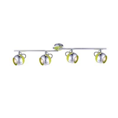 Светильник на 4 лампы Globo 57886-4O салатовыйС 4 лампами<br>Светильники-споты – это оригинальные изделия с современным дизайном. Они позволяют не ограничивать свою фантазию при выборе освещения для интерьера. Такие модели обеспечивают достаточно качественный свет. Благодаря компактным размерам Вы можете использовать несколько спотов для одного помещения. <br>Интернет-магазин «Светодом» предлагает необычный светильник-спот Globo 57886-4O по привлекательной цене. Эта модель станет отличным дополнением к люстре, выполненной в том же стиле. Перед оформлением заказа изучите характеристики изделия. <br>Купить светильник-спот Globo 57886-4O в нашем онлайн-магазине Вы можете либо с помощью формы на сайте, либо по указанным выше телефонам. Обратите внимание, что у нас склады не только в Москве и Екатеринбурге, но и других городах России.<br><br>S освещ. до, м2: 8<br>Тип лампы: галогенная/LED<br>Тип цоколя: GU10<br>Цвет арматуры: серебристый<br>Количество ламп: 4<br>Диаметр, мм мм: 800<br>Высота, мм: 160<br>MAX мощность ламп, Вт: 5