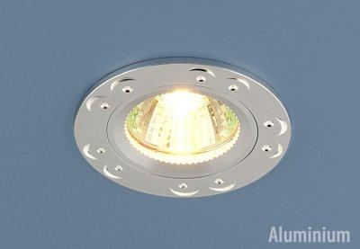 5805 (сатинированное серебро) Электростандарт Точечный светильник из алюминияКруглые<br>Светильника изготовлен из литого под давления алюминия. Лаконичный строгий дизайн позволяет светильнику вписаться в любой интерьер. Лампа в светильнике фиксируется выворачивающимся диском. Лампа: MR16 G5.3 max 50 Вт Диаметр: #216; 78 мм Высота внутренней части: ? 22 мм Высота внешней части: ? 3 мм Монтажное отверстие: #216; 65 мм Гарантия: 2 года Корпус из алюминия<br><br>Тип лампы: галогенная<br>Тип цоколя: gu5.3<br>Диаметр, мм мм: 78<br>Диаметр врезного отверстия, мм: 64