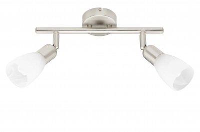 Светильник Brilliant G59313/13 JONATHANДвойные<br>Зачастую мы ищем идеальное освещение для своего дома и уделяем этому достаточно много времени. Так, например, если нам нужен светильник с количеством ламп - 2 и цвет плафонов должен быть - белый алебастр, а материал плафонов только стекло! То нам, как вариант, подойдет модель - система спотов Brilliant G59313/13.<br><br>S освещ. до, м2: 6<br>Тип лампы: накал-я - энергосбер-я<br>Тип цоколя: E14<br>Цвет арматуры: серебристый<br>Количество ламп: 2<br>Ширина, мм: 330<br>Высота, мм: 220<br>MAX мощность ламп, Вт: 9