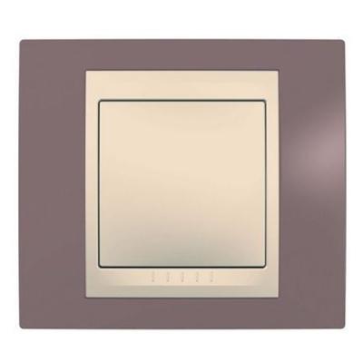 Рамка 1-ая лиловая/бежевый MGU6.002.576Unica Хамелеон<br>Технические характеристикиЦвет: Лиловый/бежевый.Посты: 1.Модульность: 2.Размер: 80 х 90 мм.Степень защиты: IP40.Дополнительная информация:Материал - пластик.<br><br>Оттенок (цвет): фиолетовый