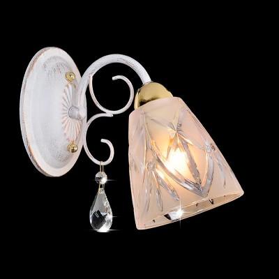 Светильник Евросвет 60001/1 белый с золотом/прозрачный хрусталь, Китай, Металл/стекло  - Купить