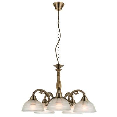Светильник Globo 60207-5Подвесные<br><br><br>Установка на натяжной потолок: Да<br>S освещ. до, м2: 15<br>Крепление: Крюк<br>Тип товара: Светильник подвесной<br>Тип лампы: Накаливания / энергосбережения / светодиодная<br>Тип цоколя: E27<br>Количество ламп: 5<br>MAX мощность ламп, Вт: 60<br>Диаметр, мм мм: 560<br>Высота, мм: 1200<br>Цвет арматуры: латунь