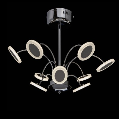 Mw light 609012609 СветильникПотолочные<br><br><br>Установка на натяжной потолок: Да<br>S освещ. до, м2: 14<br>Цветовая t, К: 4200<br>Тип лампы: LED<br>Тип цоколя: LED<br>Цвет арматуры: серебристый<br>Количество ламп: 9<br>Диаметр, мм мм: 560<br>Высота, мм: 420<br>MAX мощность ламп, Вт: 4