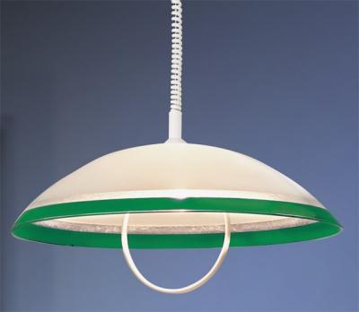 Светильник Сонекс П609 G зелен StripДля кухни<br>*Сонекс-К П609 G<br><br>S освещ. до, м2: 6<br>Тип товара: Светильник подвесной<br>Тип лампы: накал-я - энергосбер-я<br>Тип цоколя: E27<br>Количество ламп: 1<br>MAX мощность ламп, Вт: 100<br>Диаметр, мм мм: 500<br>Цвет арматуры: белый
