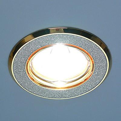 611A GD SL (серебро блеск/золото) Электростандарт Точечный светильникКруглые<br>Лампа: MR16 G5.3 max 50 Вт Диаметр: #216; 86 мм Высота внутренней части: ? 21 мм Высота внешней части: ? 4 мм Монтажное отверстие: #216; 75 мм Гарантия: 2 года Светильник имеет поворотный механизм<br><br>S освещ. до, м2: 3<br>Тип лампы: галогенная<br>Тип цоколя: gu5.3<br>Цвет арматуры: Золотой<br>Количество ламп: 1<br>Диаметр, мм мм: 85<br>Диаметр врезного отверстия, мм: 75<br>Оттенок (цвет): серебристный<br>MAX мощность ламп, Вт: 50