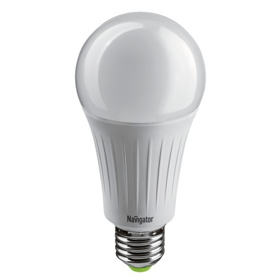 Лампа Navigator 61 386 NLL-A70-20-230-2.7K-E27Лампа e27<br><br><br>Цветовая t, К: 2700<br>Тип лампы: LED<br>Тип цоколя: E27<br>Диаметр, мм мм: 70<br>Высота, мм: 148<br>MAX мощность ламп, Вт: 20