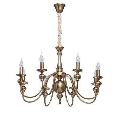 Mw light 614010608 СветильникПодвесные<br><br><br>Установка на натяжной потолок: Да<br>S освещ. до, м2: 24<br>Тип лампы: Накаливания / энергосбережения / светодиодная<br>Тип цоколя: E14<br>Количество ламп: 8<br>Диаметр, мм мм: 840<br>Высота, мм: 640 - 1040<br>MAX мощность ламп, Вт: 60