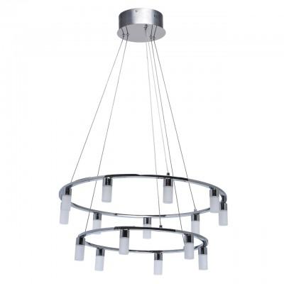 Светильник Mw-light 631012315Подвесные<br>631012315 - это Оригинальный подвесной светильник из коллекции «Ракурс» выполнен в стиле хай-тек. Хромированное металлическое основание дополнено большим количеством плафонов из матового белого акрила, расположенных по кругу. В качестве источников света выступают светодиоды. Несмотря на строгий минималистичный дизайн люстра смотрится очень эффектно.<br><br>Установка на натяжной потолок: Да<br>S освещ. до, м2: 28<br>Тип лампы: LED - светодиодная<br>Тип цоколя: LED<br>Количество ламп: 15<br>Диаметр, мм мм: 650<br>Высота, мм: 1500<br>MAX мощность ламп, Вт: 5