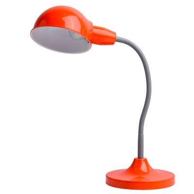 Настольная лампа Mw light 631031501 РакурсОфисные<br>Описание модели 631031501: Создать нужную атмосферу на рабочем столе  или внести яркий акцент в детскую комнату помогут настольные лампы из коллекции Ракурс, выполненные в разнообразных оттенках на любой вкус. Утяжеленное основание лампы и плафон строгой, округлой формы придают ей классическую солидность и надежность. Эластичная трубка, соединяющая плафон с основанием, защищена в зависимости от модели: у цветных светильников – пластиком нейтрального серого цвета, у светильников металлических оттенков гибкая часть в цвет плафона и основания. Плавные, мягко изогнутые линии лампы привнесут в интерьер спокойствие и уют, а ведь именно в этом и состоит одна из главных функций настольных светильников. Солидная классика – вот то определяющее словосочетание, которое как нельзя лучше характеризует лампы из коллекции Ракурс. Их  площадь освещения порядка 2 кв.м.<br><br>S освещ. до, м2: 2<br>Тип лампы: накаливания / энергосберегающая / светодиодная<br>Тип цоколя: E27<br>Цвет арматуры: оранжевый<br>Количество ламп: 1<br>Ширина, мм: 300<br>Длина, мм: 350<br>Высота, мм: 450<br>Поверхность арматуры: глянцевый<br>MAX мощность ламп, Вт: 40<br>Общая мощность, Вт: 40
