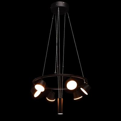 Mw light 632015106 СветильникПодвесные<br><br><br>Установка на натяжной потолок: Да<br>S освещ. до, м2: 18<br>Цветовая t, К: 3000<br>Тип лампы: LED<br>Тип цоколя: LED<br>Цвет арматуры: черный<br>Количество ламп: 6<br>Диаметр, мм мм: 550<br>Высота, мм: 320 - 1500<br>MAX мощность ламп, Вт: 6,5