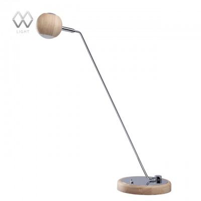 Настольная лампа Mw light 632032501 ГэлэксиСовременные<br>Описание модели 632032501: Стильное сочетание разных фактур и интересных форм отличают светильник из коллекции «Гэлэкси». Основание из дерева гевеи дополнено декоративной хромированной пластиной из металла. Под стать – необычный миниатюрный плафон, также выполненный из дерева гевеи. Светильник весьма удобен в использовании: можно легко регулировать угол светового потока, а источники света в виде светодиодов обеспечивают комфортное освещение как для работы, так и для отдыха.<br><br>S освещ. до, м2: 1<br>Тип лампы: LED<br>Тип цоколя: LED<br>Количество ламп: 1<br>Ширина, мм: 145<br>MAX мощность ламп, Вт: 5<br>Длина, мм: 400<br>Высота, мм: 485<br>Цвет арматуры: серебристый