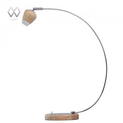 Настольная лампа Mw light 632032701 ГэлэксиСовременные<br>Описание модели 632032701: Стильное сочетание разных фактур и интересных форм отличают светильник из коллекции «Гэлэкси». Основание из дерева гевеи дополнено декоративной хромированной пластиной из металла. Под стать – необычный миниатюрный плафон, также выполненный из дерева гевеи. Светильник весьма удобен в использовании: можно легко регулировать угол светового потока, а источники света в виде светодиодов обеспечивают комфортное освещение как для работы, так и для отдыха.<br><br>S освещ. до, м2: 1<br>Тип лампы: LED<br>Тип цоколя: LED<br>Цвет арматуры: серебристый<br>Количество ламп: 1<br>Ширина, мм: 150<br>Диаметр, мм мм: 150<br>Длина, мм: 400<br>Высота, мм: 510<br>MAX мощность ламп, Вт: 5