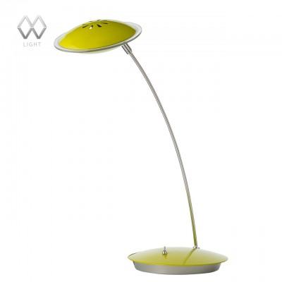 Настольная лампа Mw light 632033101 ГэлэксиХай тек<br>Описание модели 632033101: Простой лаконичный дизайн – не единственное достоинство настольных ламп из коллекции «Гэлэкси». Этот современный светильник выполнен в разнообразных цветовых вариациях: белый, фиолетовый, салатовый, красный, цвет сатинового никеля – что позволяет подобрать оттенок под любой интерьер. Минимализм, функциональность и яркие сочетания – все это в настольных лампах из коллекции «Гэлэкси».<br><br>S освещ. до, м2: 1<br>Тип лампы: LED<br>Тип цоколя: LED<br>Количество ламп: 1<br>Ширина, мм: 160<br>MAX мощность ламп, Вт: 5<br>Длина, мм: 380<br>Высота, мм: 380<br>Цвет арматуры: серебристый