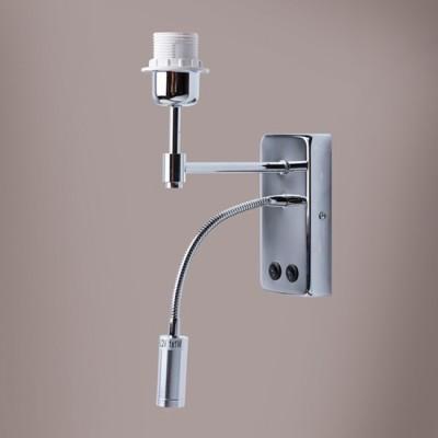 Светильник De markt 634020802Модерн<br><br><br>Тип товара: Светильник настенный бра<br>Тип лампы: Накаливания / энергосбережения / светодиодная<br>Тип цоколя: E27<br>Количество ламп: продажа от 20 шт.<br>Ширина, мм: 75<br>MAX мощность ламп, Вт: 60<br>Длина, мм: 370<br>Высота, мм: 280<br>Цвет арматуры: серебристый