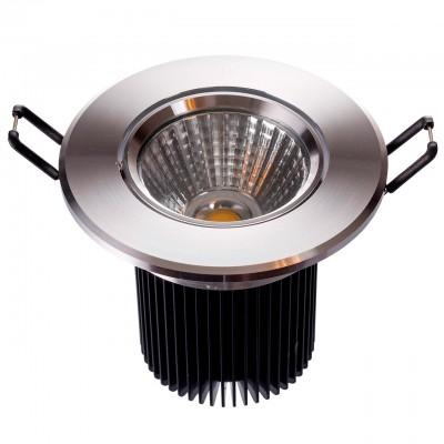 Светильник светодиодный Mw light 637013901 КрузКруглые LED<br>Описание модели 637013901: Разнообразная линейка встраиваемых светильников из коллекции Круз удовлетворит любые покупательские запросы. Корпус светильника выполнен из алюминия, осветительные элементы - светодиоды.  Говоря о технических характеристиках, стоит отметить, возможность самостоятельно регулировать положение внутренней части светильника, тем самым меняя направление светового потока и моделируя освещение в комнате на свой вкус. Светильники из коллекции Круз функциональны и уместны в любом интерьере, за счет разнообразия диаметров,  богатой цветовой палитры трендовых оттенков. Рекомендуемая площадь освещения одного встраиваемого светильника Круз порядка 1 кв.м.<br><br>S освещ. до, м2: 2<br>Цветовая t, К: 3000<br>Тип лампы: LED<br>Тип цоколя: LED<br>Количество ламп: 1<br>MAX мощность ламп, Вт: 7<br>Диаметр, мм мм: 95<br>Диаметр врезного отверстия, мм: 70<br>Высота, мм: 85<br>Цвет арматуры: серебристый<br>Общая мощность, Вт: 7