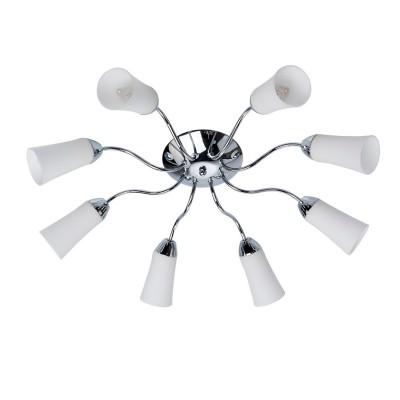 Люстра De markt 638010808 ОлимпияПотолочные<br>Описание модели 638010808: Удивительная потолочная люстра «Олимпия» создана специально для того, чтобы осветить даже самые отдаленные уголки комнаты. Хромированное металлическое основание гармонично дополнено белыми матовыми плафонами, направленными в разные стороны таким образом, чтобы освещение было максимально эффективно распределено. Стиль светильника оригинальный и вместе с тем лаконичный, без излишеств и дополнительных украшений. «Олимпия» идеально подойдет для просторных гостиных или спален в стилях модерн или контемпорари. Рекомендуемая площадь освещения – 24 кв.м.<br><br>Установка на натяжной потолок: Ограничено<br>S освещ. до, м2: 24<br>Крепление: Планка<br>Тип лампы: накаливания / энергосбережения / LED-светодиодная<br>Тип цоколя: E14<br>Количество ламп: 8<br>MAX мощность ламп, Вт: 60<br>Диаметр, мм мм: 680<br>Высота, мм: 160<br>Цвет арматуры: серебристый