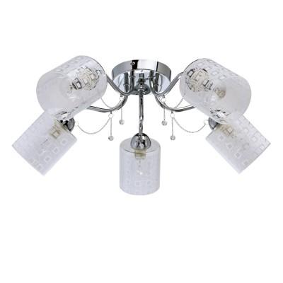 DeMarkt Олимпия 638013005 ЛюстраПотолочные<br><br><br>Установка на натяжной потолок: Да<br>S освещ. до, м2: 10<br>Тип лампы: Накаливания / энергосбережения / светодиодная<br>Тип цоколя: E14<br>Количество ламп: 5<br>Диаметр, мм мм: 620<br>Высота, мм: 200<br>MAX мощность ламп, Вт: 40