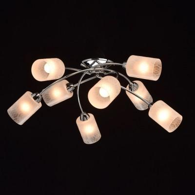 DeMarkt Олимпия 638013108 ЛюстраПотолочные<br><br><br>Установка на натяжной потолок: Да<br>S освещ. до, м2: 24<br>Тип лампы: Накаливания / энергосбережения / светодиодная<br>Тип цоколя: E14<br>Количество ламп: 8<br>MAX мощность ламп, Вт: 60<br>Диаметр, мм мм: 810<br>Высота, мм: 230