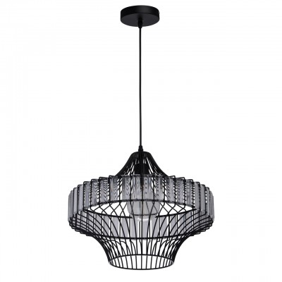 Mw light 643012101 ЛюстраПодвесные<br><br><br>Установка на натяжной потолок: Да<br>S освещ. до, м2: 3<br>Тип лампы: Накаливания / энергосбережения / светодиодная<br>Тип цоколя: E27<br>Цвет арматуры: черный<br>Количество ламп: 1<br>Диаметр, мм мм: 410<br>Высота, мм: 1550<br>MAX мощность ламп, Вт: 60