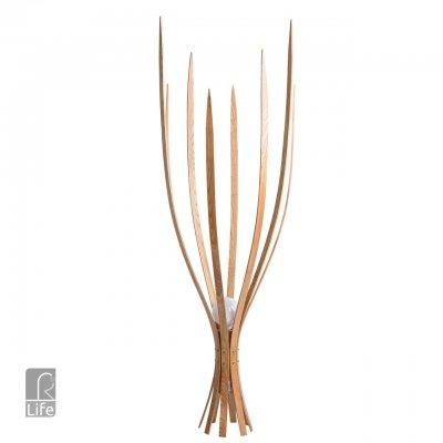 Торшер Regenbogen life 645040601 Эмден/EmdenДекоративные<br>Описание модели 645040601: Оригинальный, необычный светильник, из коллекции «Эмден»,  выполненный в эко-стиле, идеально подходит для ценителей современных  веяний в оформлении интерьеров.  Металлическое основание цвета серебра дополнено абажуром из пластинок  натурального дерева.  Яркий акцент – красные контрастные провода. Ультрасовременный дизайн позволяет светильнику прекрасно вписаться в динамичную и стильную обстановку, а мягкое распределение света привнесет спокойствие и настроит на хороший отдых.  Рекомендуемая площадь освещения порядка 5 кв.м.<br><br>Тип лампы: Накаливания / энергосбережения / светодиодная<br>Тип цоколя: E27<br>Количество ламп: 1<br>Ширина, мм: 550<br>MAX мощность ламп, Вт: 40<br>Диаметр, мм мм: 550<br>Высота, мм: 1750<br>Цвет арматуры: бежевый