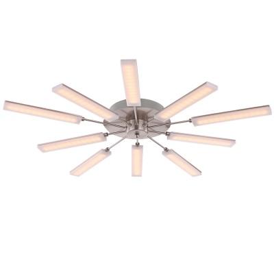 Люстра светодиодная Globo 67066-10DПотолочные<br>Компания «Светодом» предлагает широкий ассортимент люстр от известных производителей. Представленные в нашем каталоге товары выполнены из современных материалов и обладают отличным качеством. Благодаря широкому ассортименту Вы сможете найти у нас люстру под любой интерьер. Мы предлагаем как классические варианты, так и современные модели, отличающиеся лаконичностью и простотой форм. <br>Стильная люстра Globo 67066-10D станет украшением любого дома. Эта модель от известного производителя не оставит равнодушным ценителей красивых и оригинальных предметов интерьера. Люстра Globo 67066-10D обеспечит равномерное распределение света по всей комнате. При выборе обратите внимание на характеристики, позволяющие приобрести наиболее подходящую модель. <br>Купить понравившуюся люстру по доступной цене Вы можете в интернет-магазине «Светодом».<br><br>Установка на натяжной потолок: Да<br>S освещ. до, м2: 11<br>Крепление: Планка<br>Цветовая t, К: 3000<br>Тип лампы: LED<br>Тип цоколя: LED<br>Количество ламп: 10<br>MAX мощность ламп, Вт: 2,8<br>Диаметр, мм мм: 800<br>Высота, мм: 90<br>Цвет арматуры: серебристый