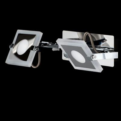 Светильник настенный бра Mw light 675021102 РальфДвойные<br>Описание модели 675021102: Для тех, кто предпочитает современный минималистический дизайн, не лишенный оригинальности, создана коллекция светильников «Ральф».  Металлическое хромированное основание дополнено уникальными плоскими плафонами прямоугольной формы, со скругленными углами. Они выполнены из алюминия и частично матированного прозрачного акрила. Помимо этого, плафоны оснащены системой спотов – вращая их в разные стороны,  можно менять направление светового потока. Такие светильники идеальны для зонального освещения.<br><br>S освещ. до, м2: 3<br>Цветовая t, К: 3000<br>Тип лампы: LED<br>Тип цоколя: LED<br>Цвет арматуры: серебристый<br>Количество ламп: 2<br>Ширина, мм: 300<br>Длина, мм: 90<br>Высота, мм: 200<br>MAX мощность ламп, Вт: 5<br>Общая мощность, Вт: 10