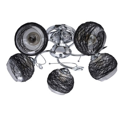DeMarkt Грация 677012105 ЛюстраПотолочные<br><br><br>Установка на натяжной потолок: Да<br>S освещ. до, м2: 15<br>Тип лампы: Накаливания / энергосбережения / светодиодная<br>Тип цоколя: E27<br>Количество ламп: 5<br>MAX мощность ламп, Вт: 60<br>Диаметр, мм мм: 550<br>Высота, мм: 220