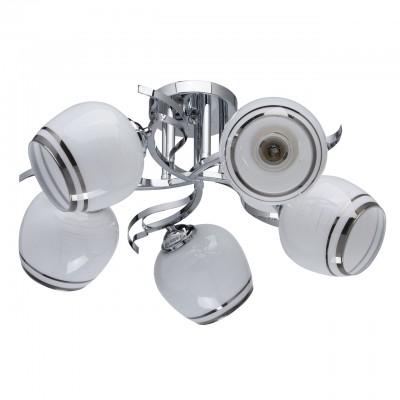 Светильник De Markt 677012605Потолочные<br>677012605 - это Люстра из коллекции «Грация» радует глаз своей легкостью и элегантностью. Хромированное металлическое основание выполнено в форме цветка. Оно создает гармоничный дуэт вместе с округлыми стеклянными плафонами, которые, в свою очередь, украшены полосатым рисунком и кантом в тон основанию.<br><br>S освещ. до, м2: 15<br>Тип лампы: накаливания / энергосбережения / LED-светодиодная<br>Тип цоколя: E27<br>Количество ламп: 5<br>MAX мощность ламп, Вт: 60<br>Диаметр, мм мм: 480<br>Высота, мм: 230