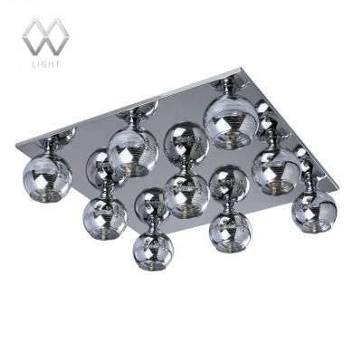 Люстра Mw light 678010309 ГраффитиПотолочные<br>Описание модели 678010309: Эффектный потолочный светильник «Граффити» не оставит равнодушными новаторов и любителей оригинального дизайна. Стальная прямоугольная панель с зеркальной поверхностью служит основанием для девяти сферических плафонов с лампами мягкого теплого света. Отражающая поверхность создает оптическую иллюзию и усиливает освещение. Гальванизированный рисунок стеклянных плафонов имеет декоративный эффект при освещении — горизонтальные полосы завершают новаторский дизайн светильника.<br><br>Установка на натяжной потолок: Ограничено<br>S освещ. до, м2: 18<br>Крепление: Планка<br>Тип товара: Люстра<br>Скидка, %: 11<br>Тип лампы: галогенная/LED<br>Тип цоколя: G9<br>Количество ламп: 9<br>Ширина, мм: 510<br>MAX мощность ламп, Вт: 40<br>Длина, мм: 510<br>Высота, мм: 140<br>Цвет арматуры: серебристый