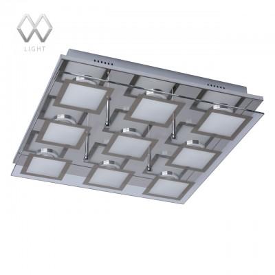 Люстра Mw light 678010509 ГраффитиПотолочные<br>Описание модели 678010509: Геометрия светодиодного светильника построена на прямоугольных формах, которые повторяются как в основании, так и дизайне плафона. Стальное основание имеет зеркальную отражающую поверхность. Светодиодные лампы декорированы рисунком белого цвета с гальванизированным кантом на стекле, что вместе с отражением создает интересный эффект вложенных светящихся квадратов. «Граффити» обладает высокими параметрами освещенности и прекрасно подойдет для интерьеров в стиле модерн, хай-тек или авангард.<br><br>Установка на натяжной потолок: Ограничено<br>S освещ. до, м2: 19<br>Крепление: Планка<br>Тип цоколя: LED<br>Количество ламп: 9<br>Ширина, мм: 390<br>MAX мощность ламп, Вт: 5<br>Длина, мм: 390<br>Высота, мм: 80